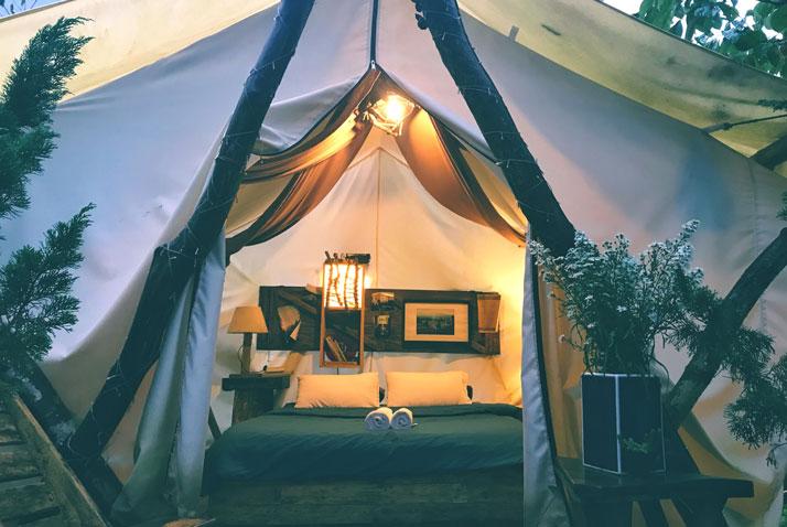glamping tenda semplice e confortevole