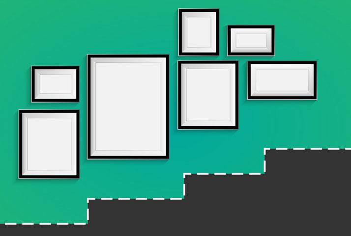 allineare i quadri all'andamento dei gradini