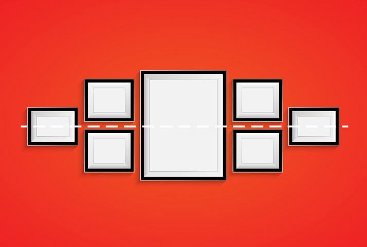 allineare i quadri secondo una linea centrale