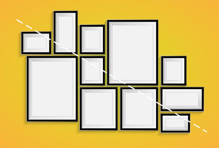 allineare i quadri seguendo la diagonale